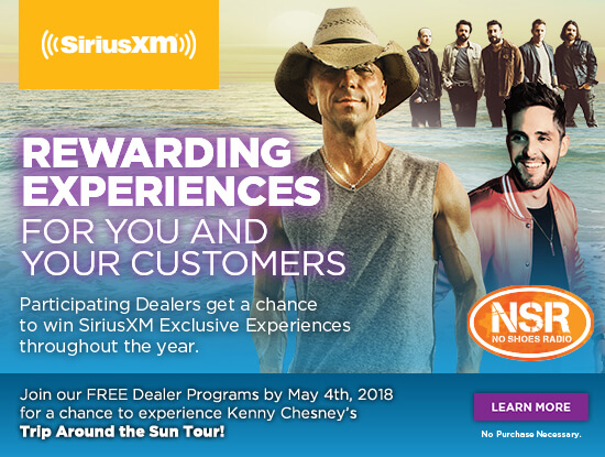 Rewarding Experiences for you and your customers. Join our FREE Dealer Programs by May 4th, 2018 for a chance to experience Kenny Chesney's Trip Around The Sun Tour. Learn More. No purchase necessary.s